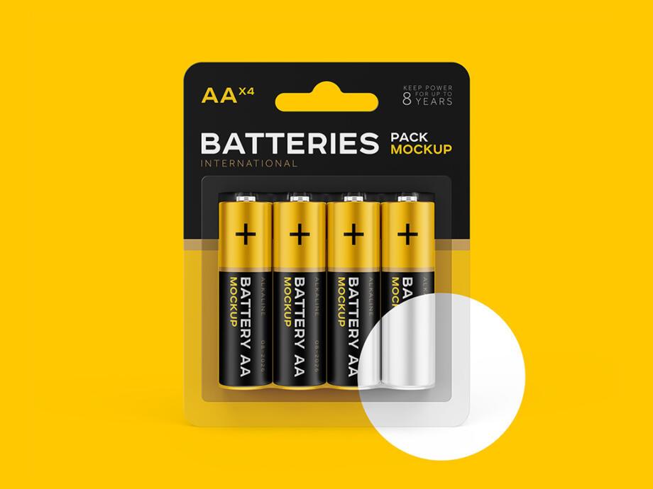 Free AA Battery Mockup PSD