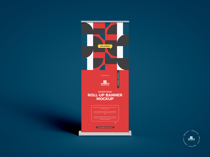 Free Advertising Roll-Up Banner Mockup PSD