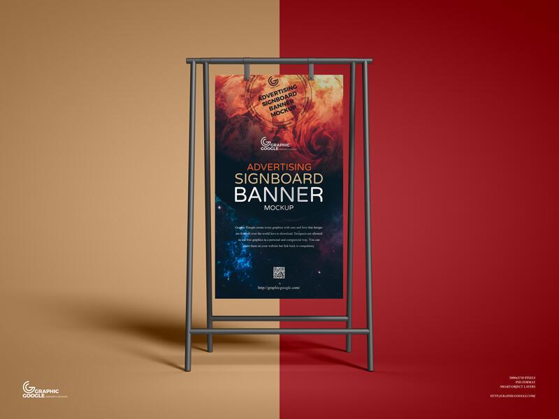 Free Advertising Signboard Banner Mockup PSD