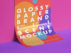 Free Branding Glossy Paper Mockup PSD Template