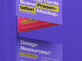 Free Business Card Scene Mockup PSD