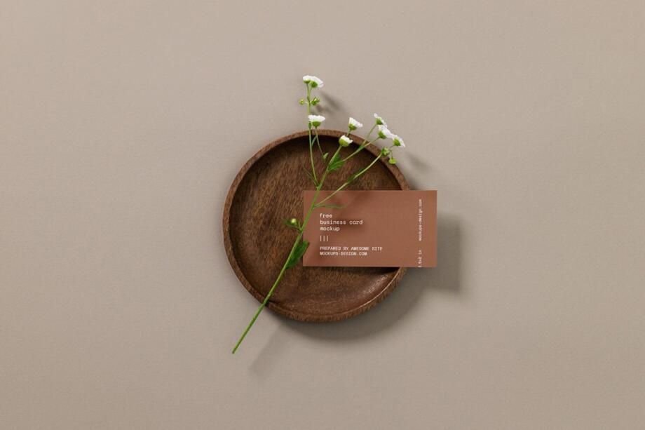 Free Business Card with a Flower Mockup PSD Template
