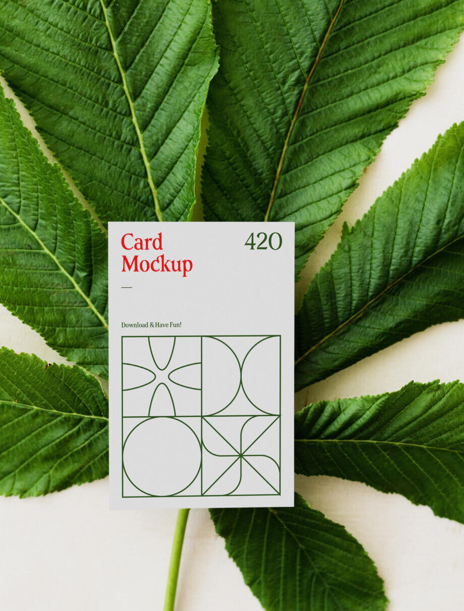 Free Card with Leaf Mockup PSD