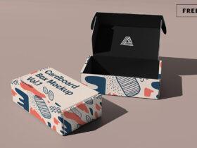 Free Cardboard Box Mockup PSD Template
