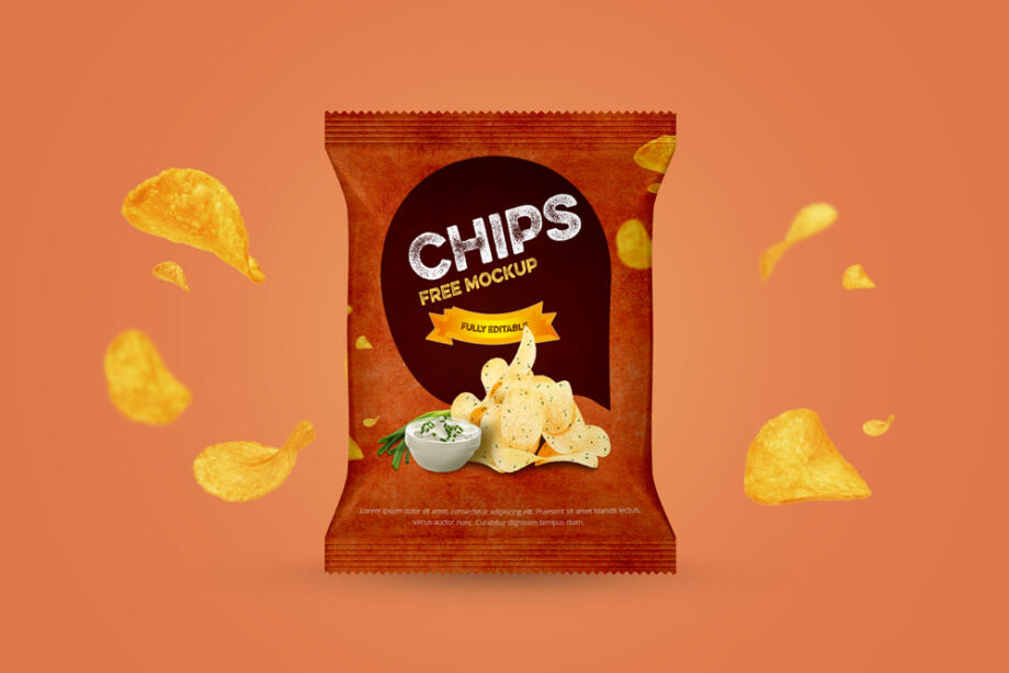Free Chips Packet Mockup PSD