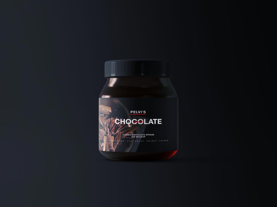 Free Chocolate Jar Mockup PSD