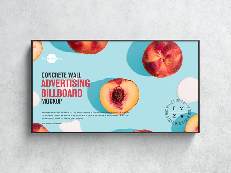 Free Concrete Wall Advertising Billboard Mockup PSD