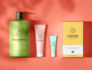 Free Cosmetic Bottle with Pump Mockup PSD