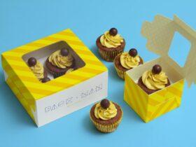 Free Cupcake Boxes Mockup PSD