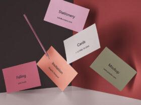 Free Falling Invitation Card Mockup PSD Template