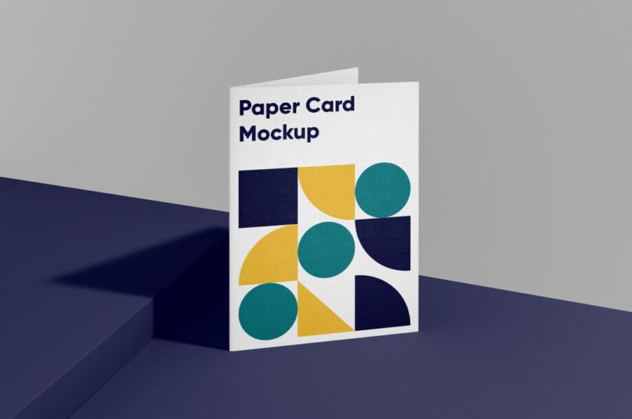Free Folded A4 Paper Card Mockup PSD