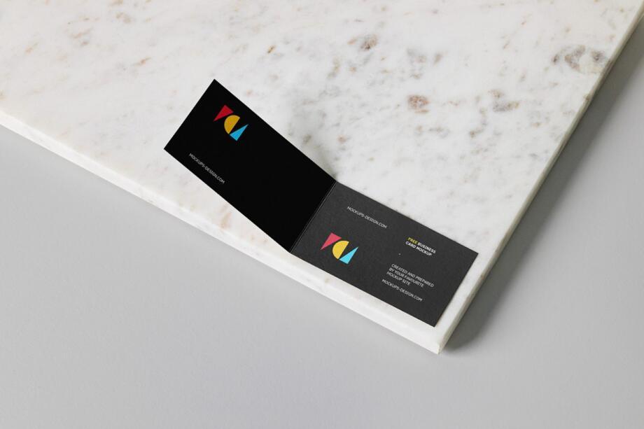 Free Folded Business Card Mockup PSD Template