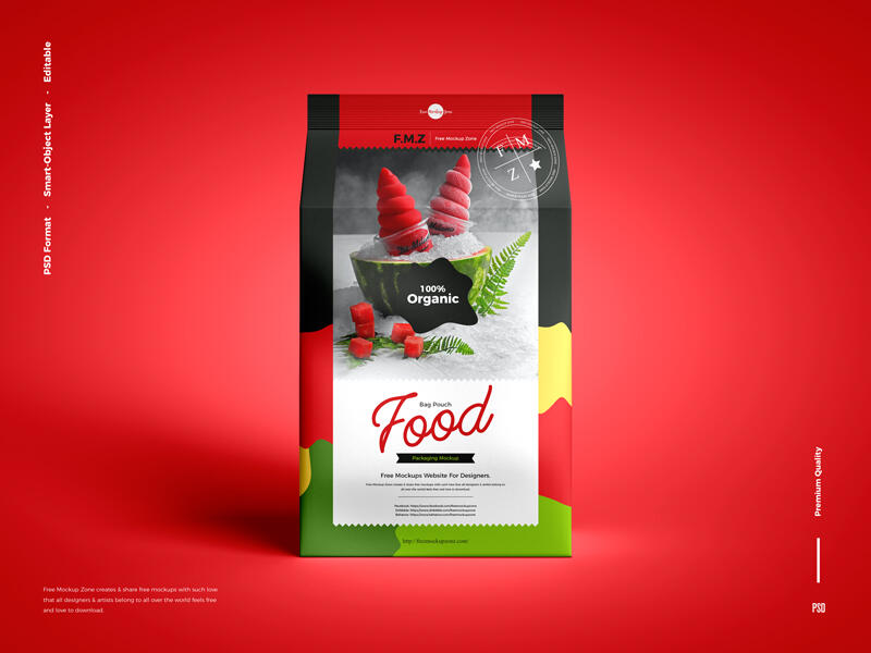Free Food Bag Pouch Packaging Mockup PSD Template