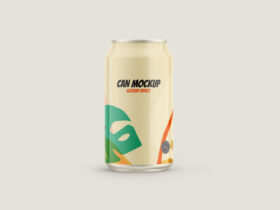Free Glossy Can Drink Mockup PSD