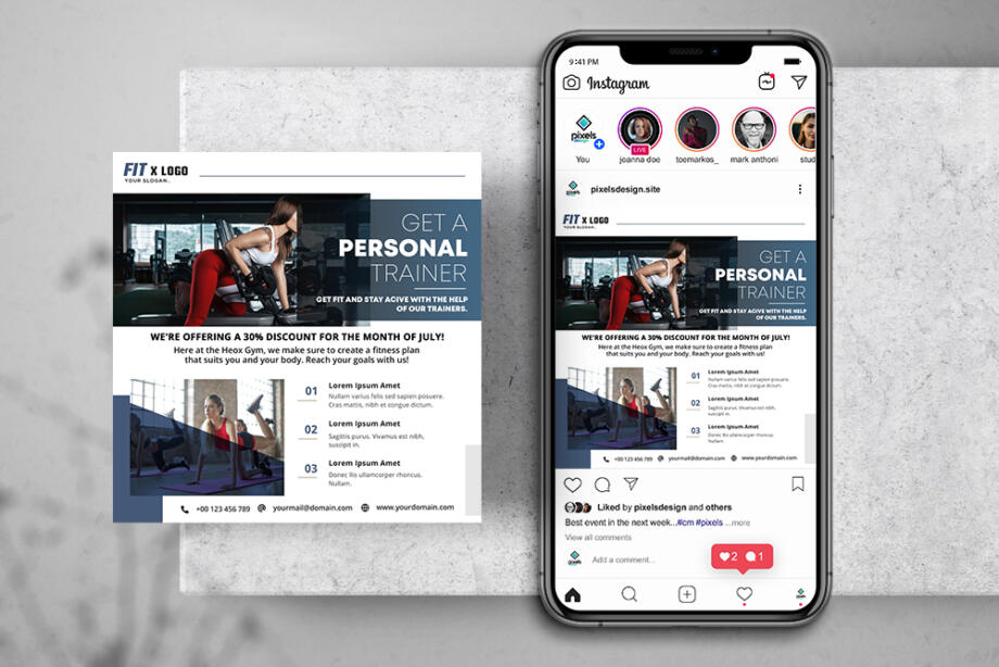 Free Gym Fitness Instagram Banner Template PSD