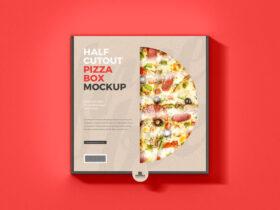 Free Half Cutout Pizza Box Mockup PSD