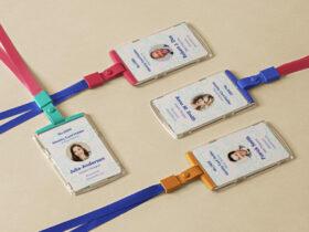 Free ID Card Holder Mockup Scene PSD