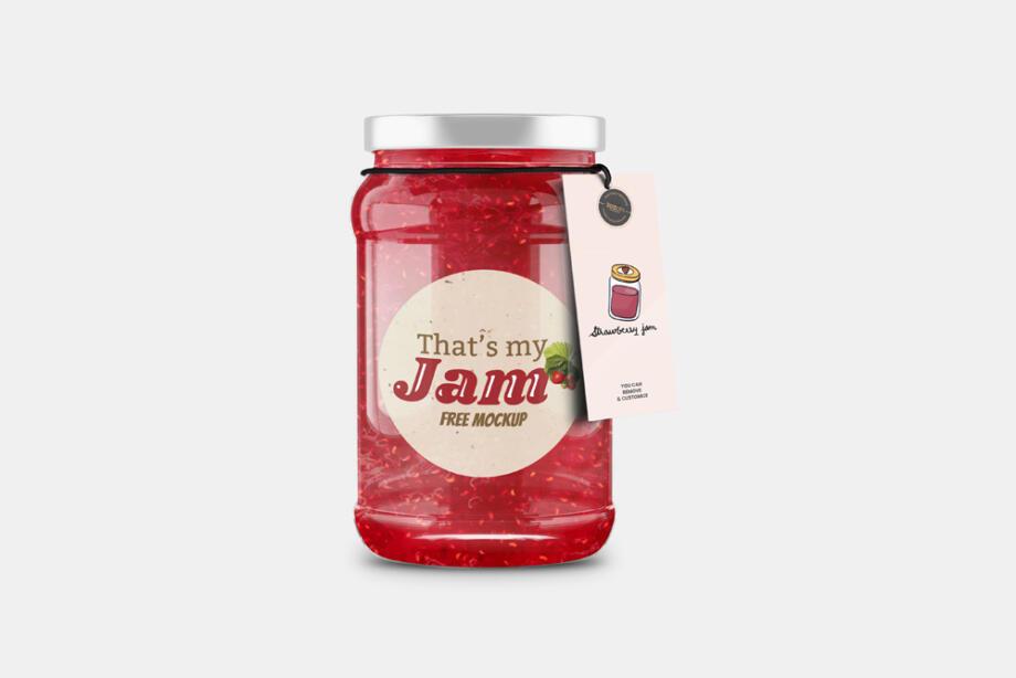 Free Jam Jar Bottle with Tag Free Mockup PSD