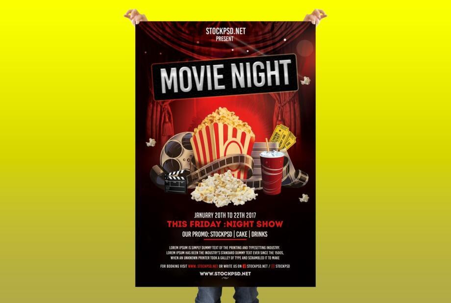 Free Movie Night PSD Flyer Template