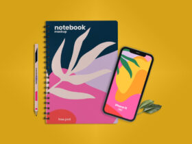Free Notebook with iPhone 12 Scene Mockup PSD