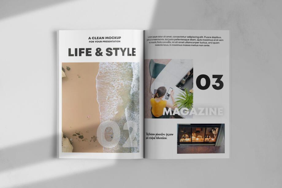 Free Opened Magazine Mockup PSD