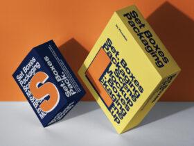 Free Packaging Box Set Scene Mockup PSD