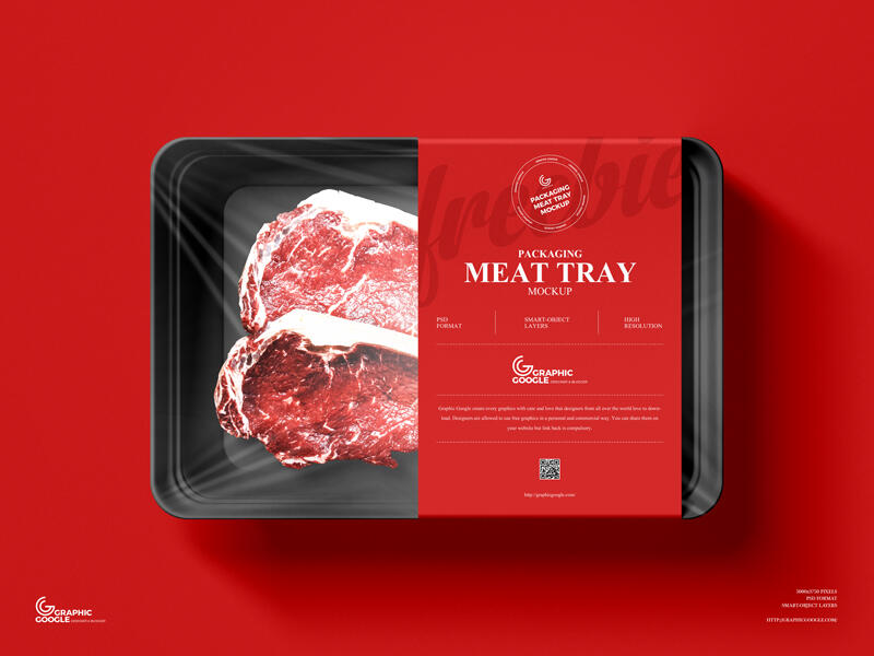 Free Packaging Meat Tray Mockup PSD