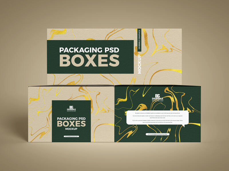 Free Packaging PSD Boxes Mockup PSD