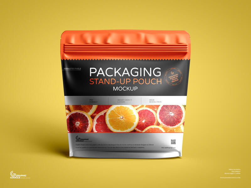 Free Packaging Stand-up Pouch Mockup PSD