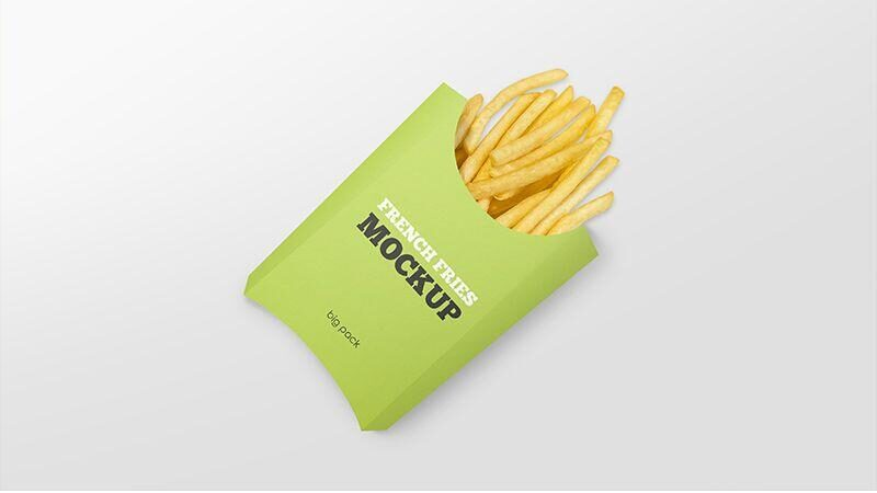 Free Paper French Fries Box Mockup PSD