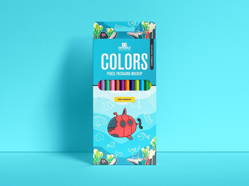 Free Pencil Colors Packaging Mockup PSD