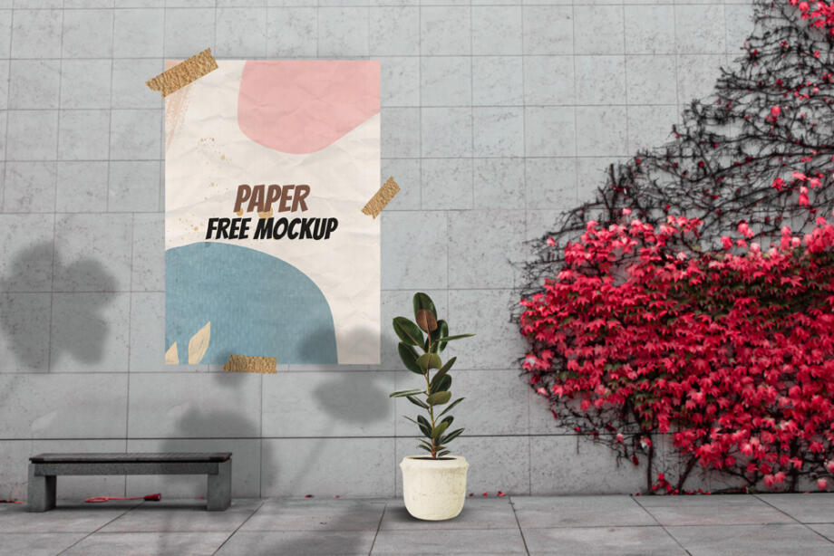 Free Poster Taped on Wall Free Mockup PSD
