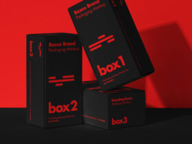 Free Product Packaging Boxes Set Mockup PSD
