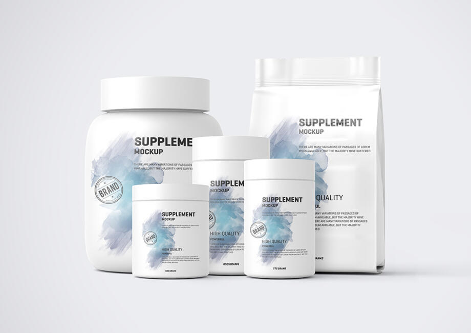 Free Protein Pack and Jar Mockup PSD