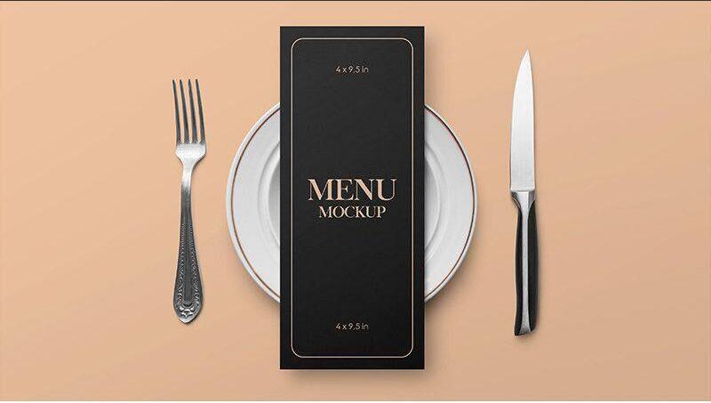 Free Restaurant Menu Card Mockup PSD