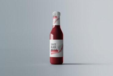 Free Sauce Glass Bottle Mockup PSD Template