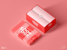 Free Shoe Box Packaging Mockup PSD