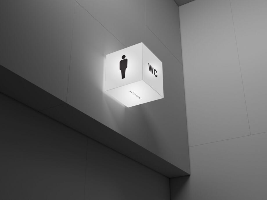 Free Simple Acrylic Cube Lightbox Mockup PSD