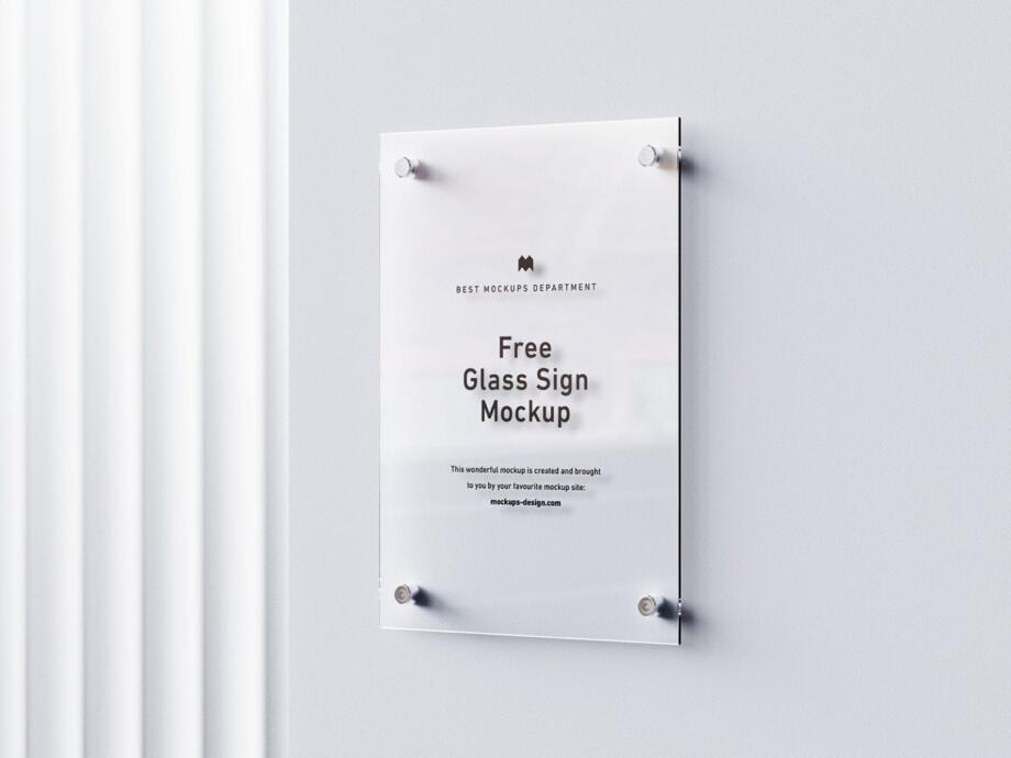 Free Simple Glass Sign Mockup PSD