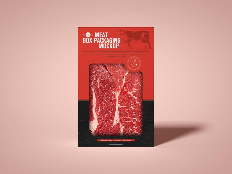 Free Simple Meat Cutout Box Packaging Mockup PSD
