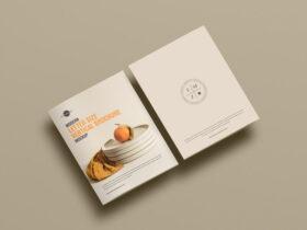 Free Simple Modern Letter Size Vertical Brochure Mockup PSD