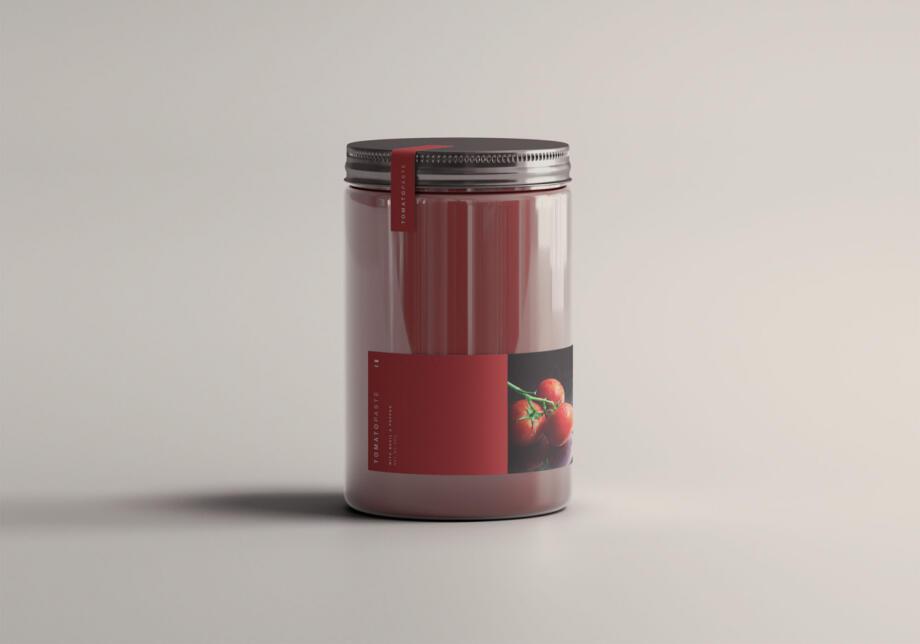 Free Simple Tomato Jar Mockup PSD