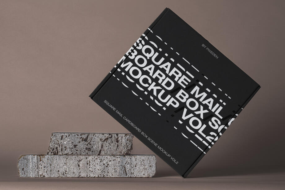 Free Square Mail Cardboard Box Mockup PSD