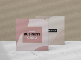 Free Standing Square Business Card Mockup PSD