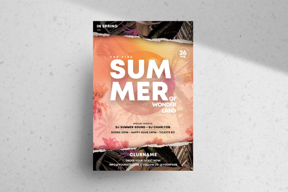 Free Summer Time PSD Flyer Template