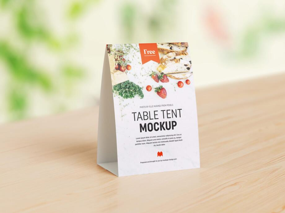 Free Table Tent Mockup PSD Template