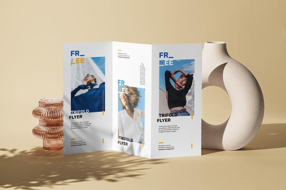 Free Tri-fold DL Flyer Scene Mockup PSD