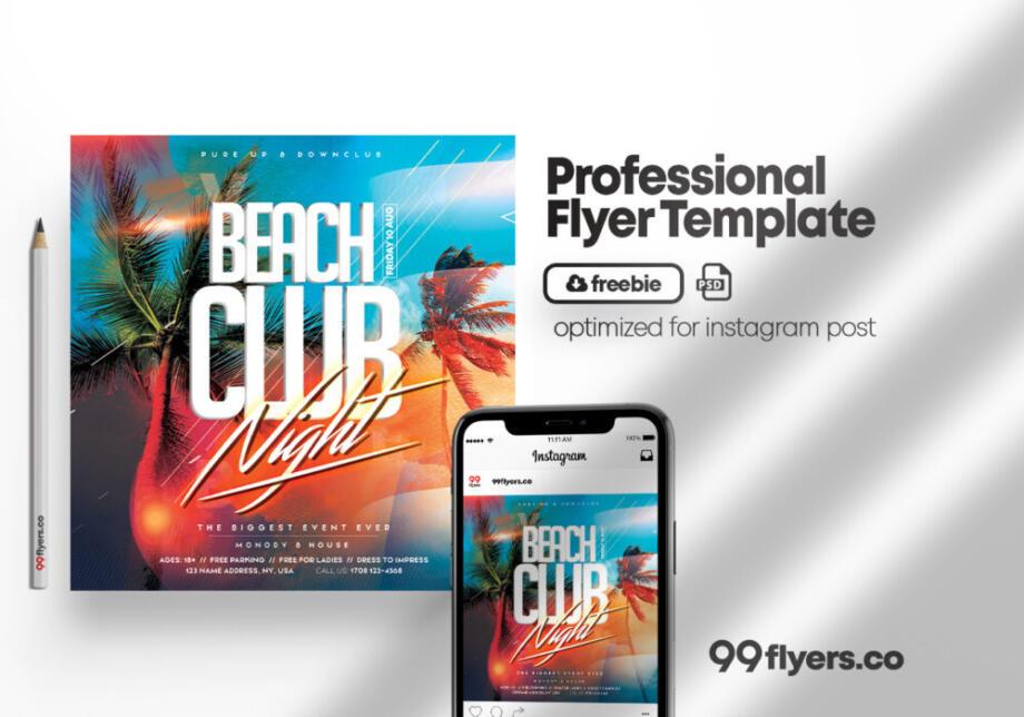 Free Tropic Summer Season Flyer PSD Template