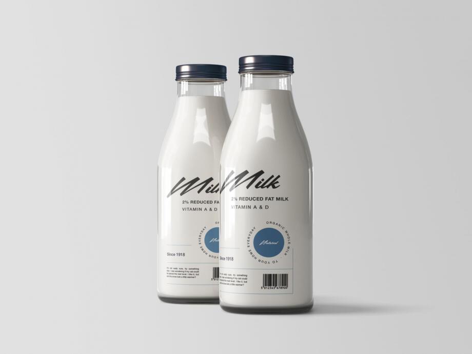Free Two Milk Bottles Mockup PSD