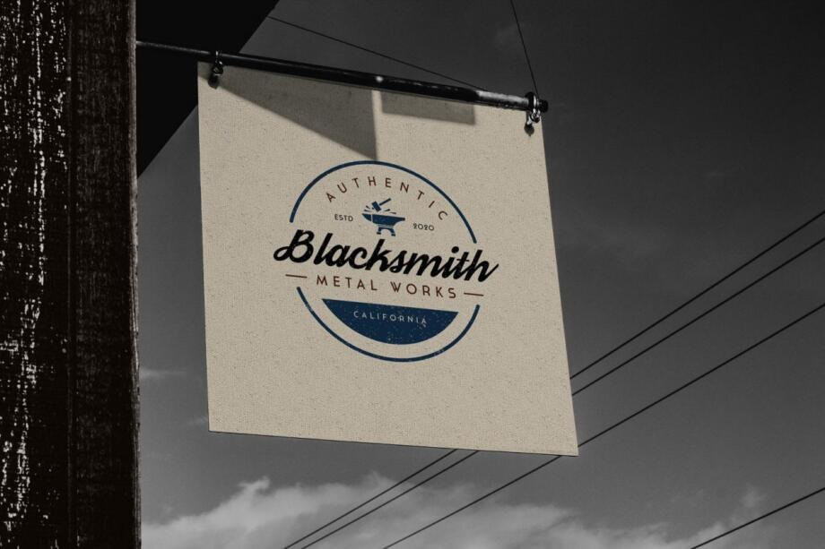 Free Vintage Shop Sign Mockup PSD